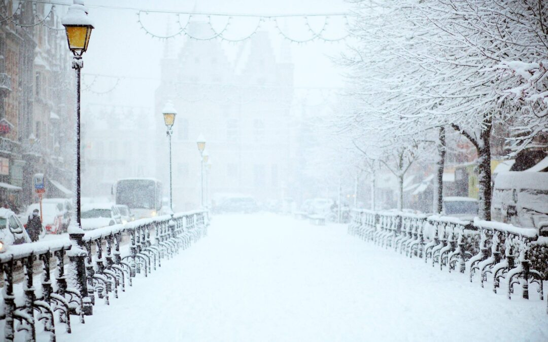winter sump on a snowy street